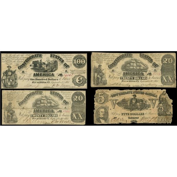 Lot of four Confederate notes of Sept. 2, 1861: $100, serial 19041, plate 7; $20, serial 3516, plate