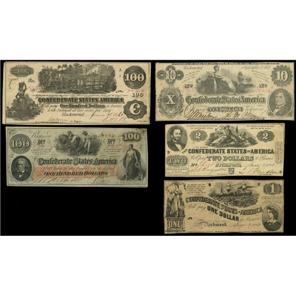 Lot of five Confederate notes of 1862: $100, June 18, 1862, serial 9050; $100, Nov. 24, 1862, serial
