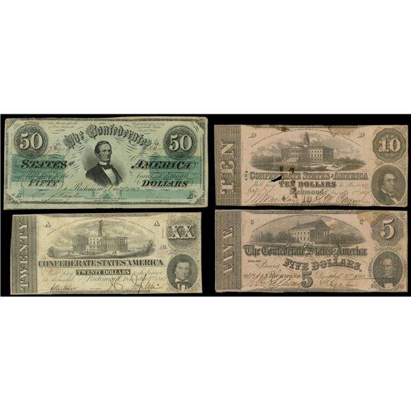Lot of three Confederate notes of Dec. 2, 1862: $50, serial 73419, inverted CSA watermark; $20, seri