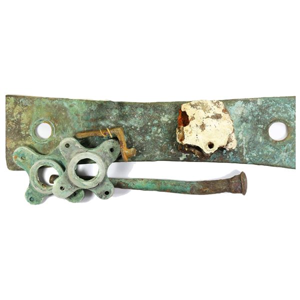 Large lot of iron (one) and cuprous (six) ship's fittings, ex-Spring of Whitby (1824), with original