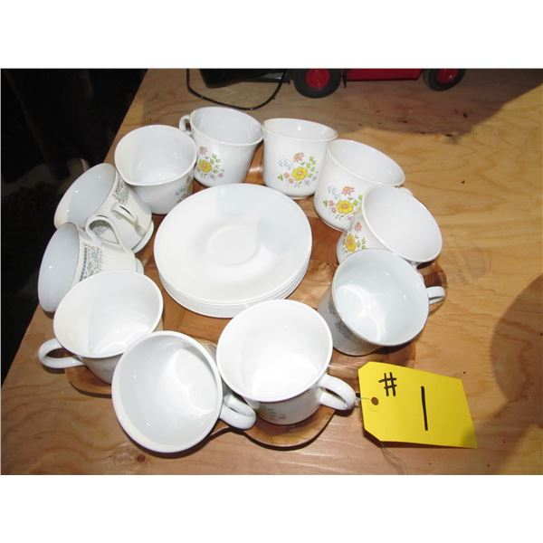 10 CUPS & SAUCERS, CREAMER (MOSTLY CORELLE)