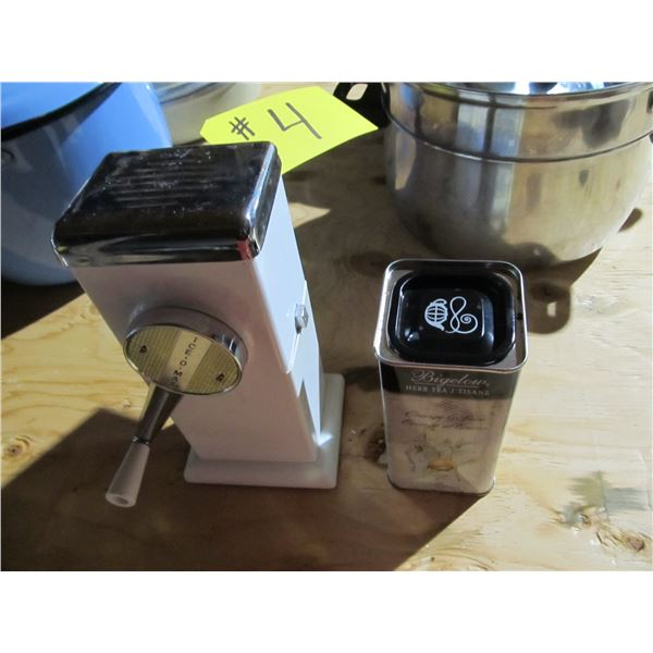 ICE GRINDER/SHAVER AND TEA CAN