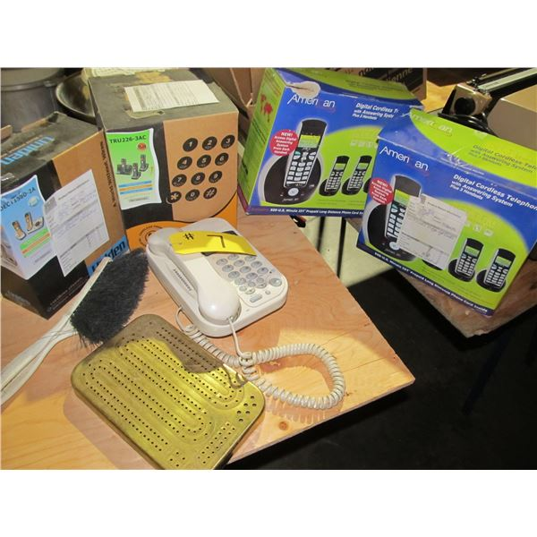 QUANTITY OF TELEPHONES (MOSTLY STORE RETURNS) & MINI CRIBBAGE BOARD