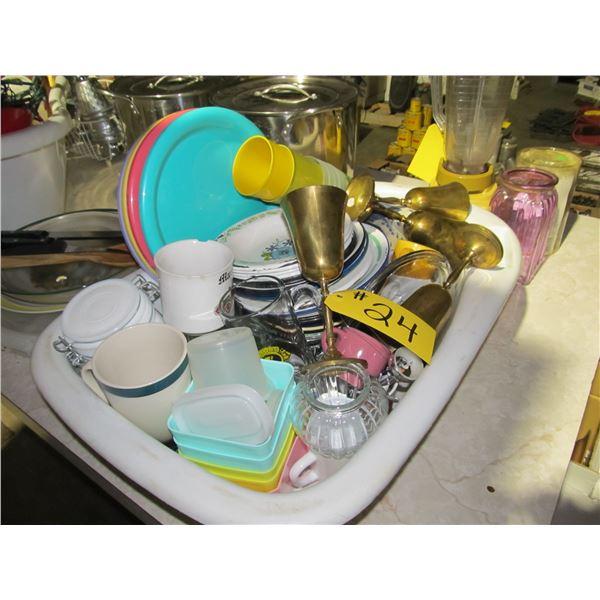 TUB OF BRASS STEINS, PORCELAIN PLATES, VARIOUS HOUSEWARES