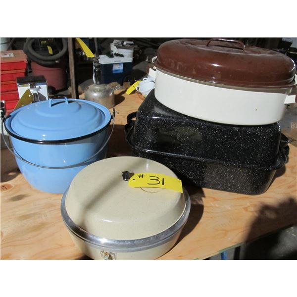 ROASTERS, WATER PAIL, COOKING POTS AND PANS