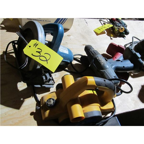 SKILSAW IN WORKING CONDITION, CORDLESS TOOLS & PLANER (NEEDS REPAIR)