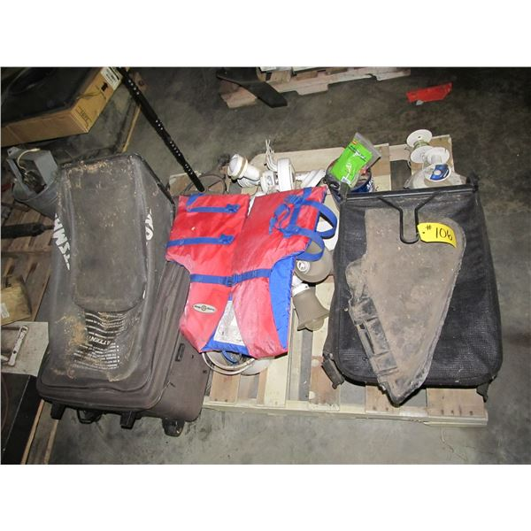 GRASS CATCHERS, LIFE JACKET, FAN, LUGGAGE, ELECTRICAL SUPPLIES
