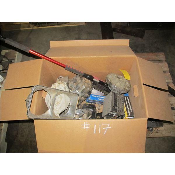 BOX OF CHEV/GMC CENTRE CAPS, LIGHTS, BEZZLES, SNOW BRUSH