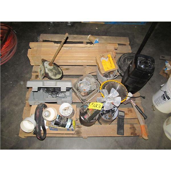 DOWELS, TILE SAW BLADES, DOOR PULLS, ELECTRICAL SUPPLIES, HACHET, MALLET