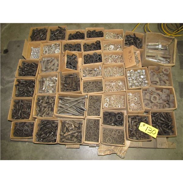 PALLET OF HEAVY BOLTS, WASHERS, LOCK AND CASTLE NUTS