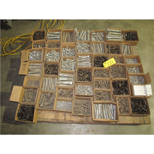 PALLET OF HEAVY BOLTS, CUTTING EDGE BOLTS, COTTER PINS