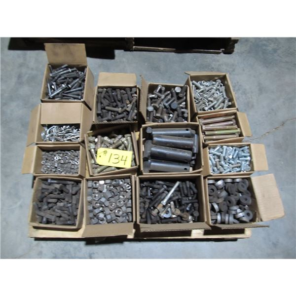 PALLET OF NUTS, BOLTS, HAIR PINS, HEAVY MACHINED PINS