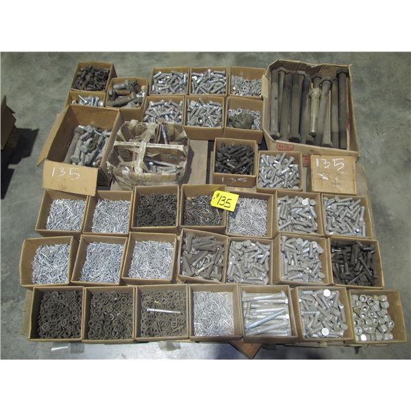 """PALLET INCLUDING 18"""" X 1.25"""" BOLTS, PLOW BOLTS COTTER PINS, LOCK WASHERS, LOCK NUTS"""