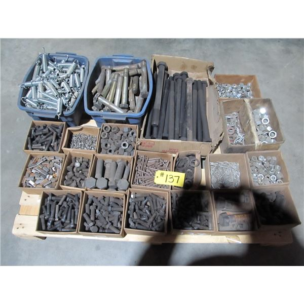 PALLET INCLUDING LONG HEAVY BOLTS, NUTS, HAIR AND COTTER PINS