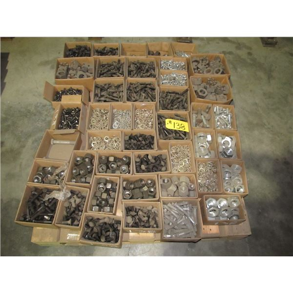 PALLET INCLUDING VARIOUS SIZES OF NUTS, LOCK WASHERS, COTTER PINS