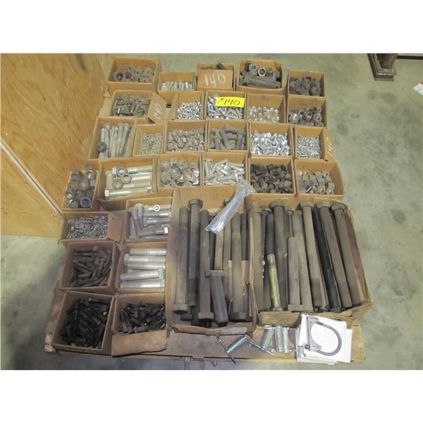 PALLET INCLUDING HEAVY MACHINED PINS, LONG HEAVY BOLTS, NUTS & WASHERS, COTTER PINS, MUFFLER CLAMPS