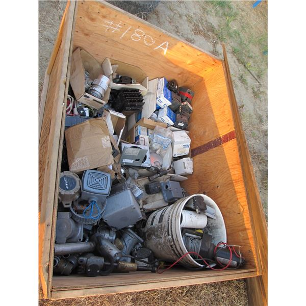 CRATE OF ELECTRICAL FITTINGS, COUPLERS & BREAKERS