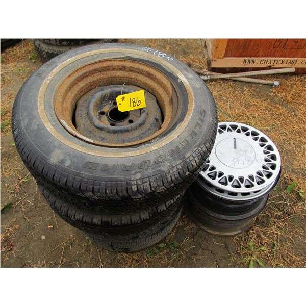 15 TIRES (SOME MOUNTED ON DODGE RIMS)