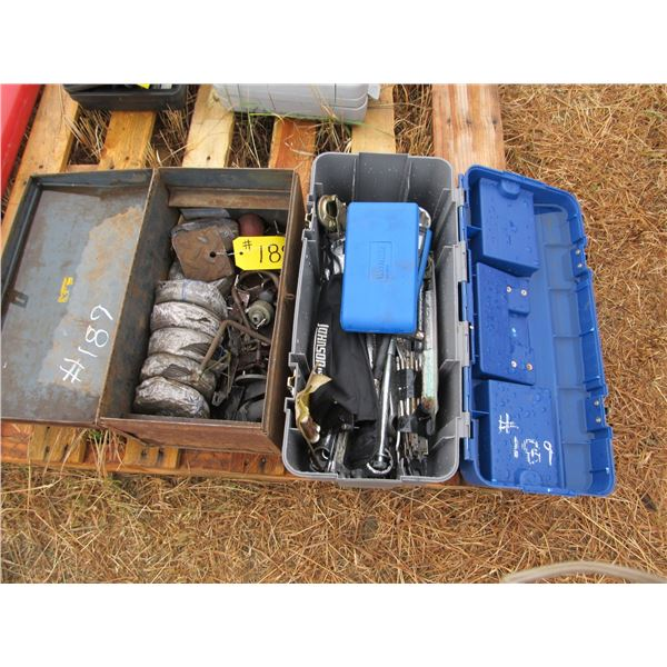 2 BOXES OF WOOD BITS, BIG SOCKETS, WRENCHES, MECHANICS WIRE