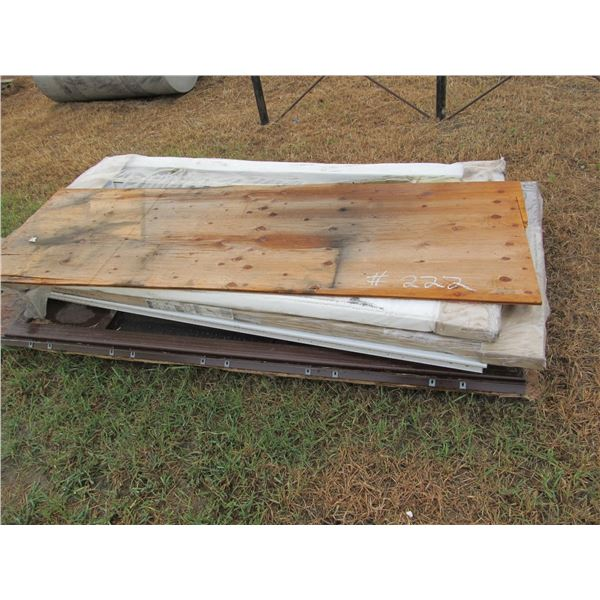 4 MISC STORMS DOORS (3 LOOK NEW) PLUS MISC OSB AND PLYWOOD