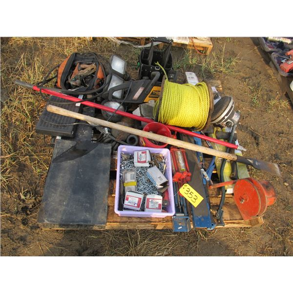 """FOLDING SAW HORSES, WELDING RODS, SPOOL OF 3/8"""" NYLON ROPE, ROOFING NAILS, DRIVING LIGHTS,"""