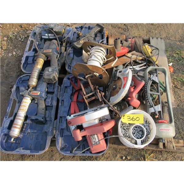 BATTERY OPERATED GREASE GUNS, HAND WINCH, SKIL SAWS, DRILLS, ROOF NAILS, AIR IMPACTS