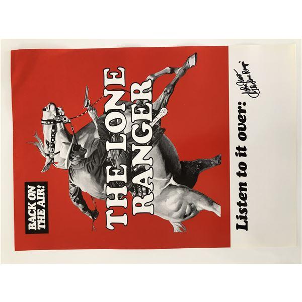 The Lone Ranger John Hart signed original radio poster