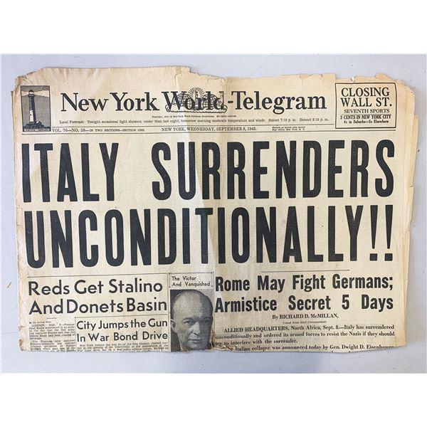 New York World - Telegram Original 1943 Vintage Newspaper