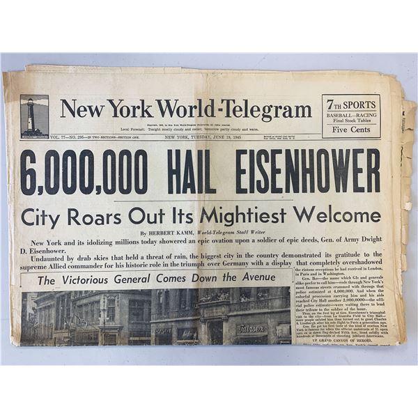 New York World - Telegram Original 1945 Vintage Newspaper