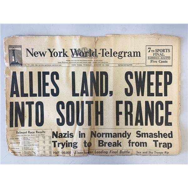 New York World - Telegram Original 1944 Vintage Newspaper