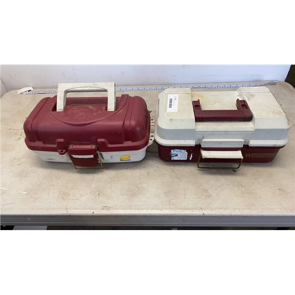 2 TACKLE BOXES PLANO AND WOODSTREAM WITH FISHING TACKLE