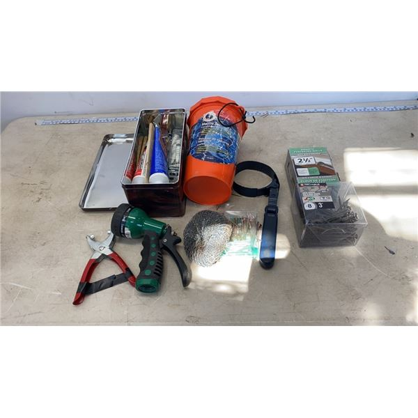 BIN OF FINISHING NAILS, MARINE SAFTEY KIT AND OTHER TOOLS