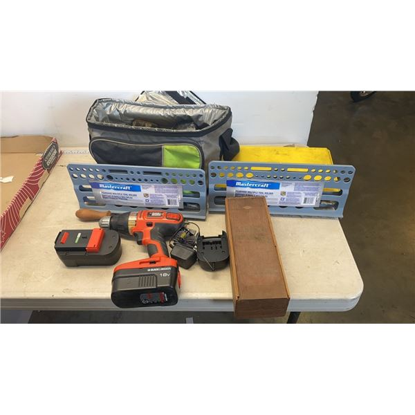 TRAY OF CORDLESS DRILL, BAG OF ELECTRICAL CONNECTORS AND ELECTRICAL SUPPLIES