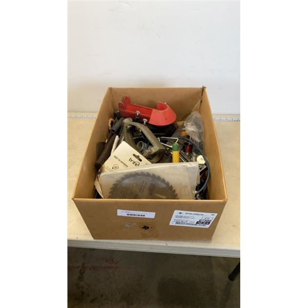 BOX OF SAW BLADE HAND TOOLS AND MORE