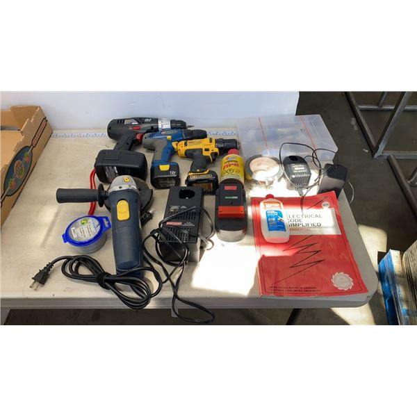 BOX OF CORDLESS DRILLS, ANGLE GRINDER AND MORE