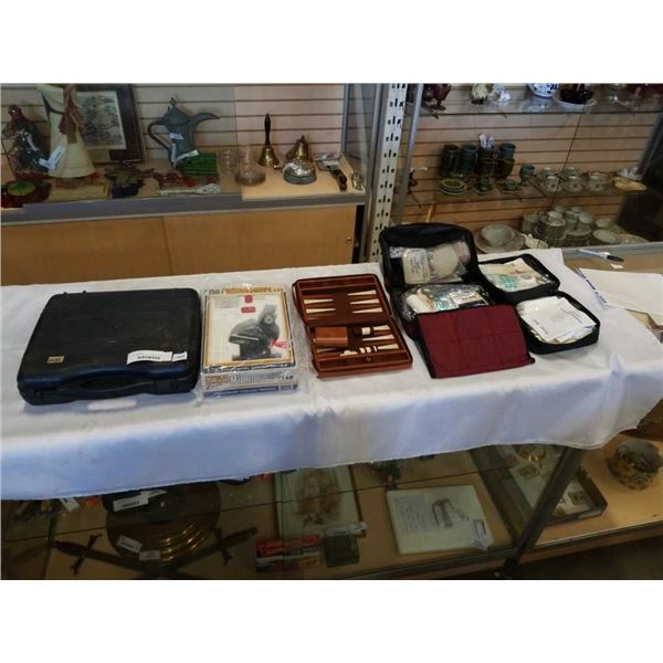 PORTABLE CAMP STOVE, MICROSCOPE, TRAVEL BACKGAMMON AND 2 FIRST AID KITS