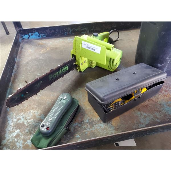 GREENLEE GT-95 VOLTAGE TESTER WITH POULAN ELECTRIC CHAINSAW AND SUNFORCE BLOWER