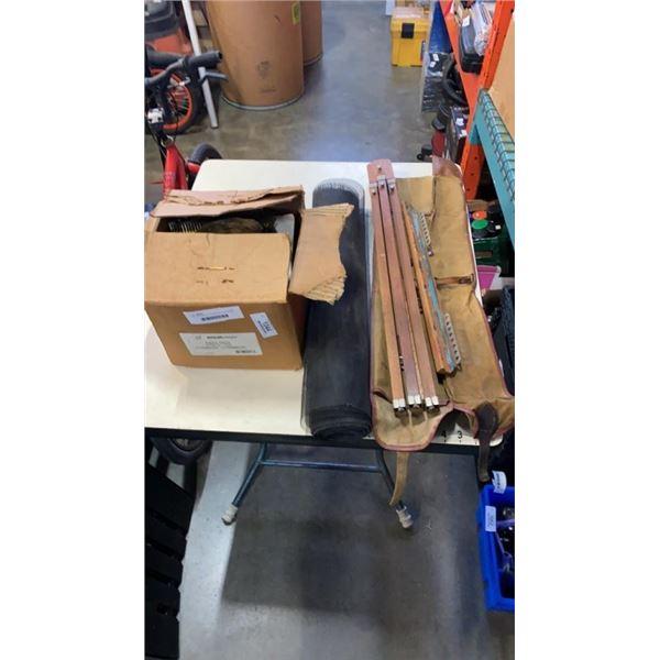 BOX OF STRIP NAILS, MESHING AND EASEL