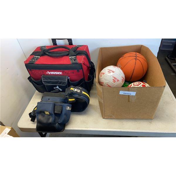 HUSKY TOOL BAG WITH TOOL BELT BOX OF SPORTSBALLS
