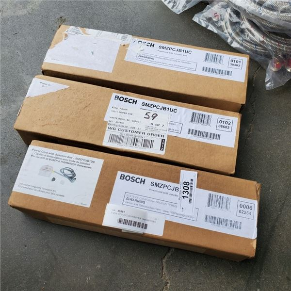 3 NEW BOSCH DISHWASHER HARDWIRING INSTALLATION KITS - POWER CORD WITH JUNCTION BOX FOR USE WITH ALL