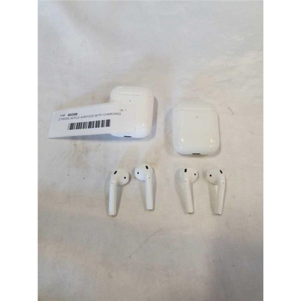 2 PAIRS APPLE AIRPODS WITH CHARGING CASES