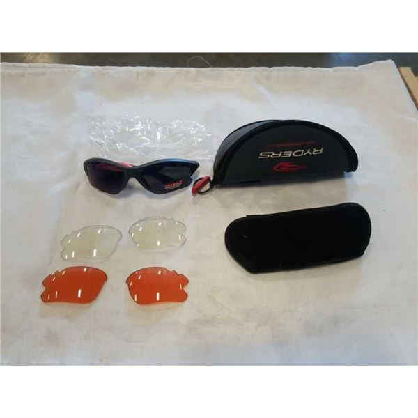 NEW RYDERS GREY AND BLUE R136 RTX SUNGLASSES WITH INTERCHANGEABLE LENSES AND CASE - RETAIL $59