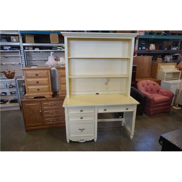 WHITE PEDESTAL DESK WITH HUTCH - 53 INCHES WIDE X 78.5 TALL X 2 FOOT DEEP