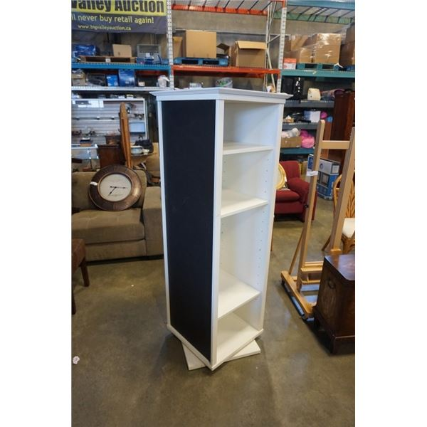 WHITE SPINNING SHELF WITH CORKBOARD AND BLACK BOARD SIDES