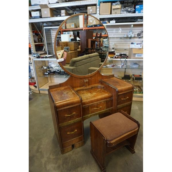 5 DRAWER WATERFALL VANITY WITH MIRROR AND STOOL