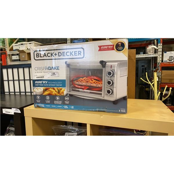 NEW BLACK AND DECKER CRISPNBAKE 6 SLICE TOASTER OVEN - AIRFRY TECHNOLOGY