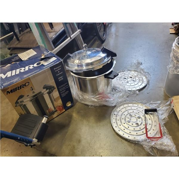 AS NEW MIRRO 22 QUART PRSSURE COOKER/CANNER WITH TONGS