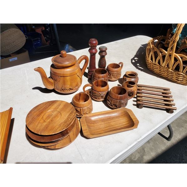 WOOD TEASET WITH CARVED TEAPOT, GLASSES, BUTTER DISH AND MORE