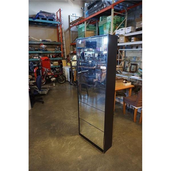 BLACK MIRROR DOOR SHOE CABINET WITH 5 DRAWERS