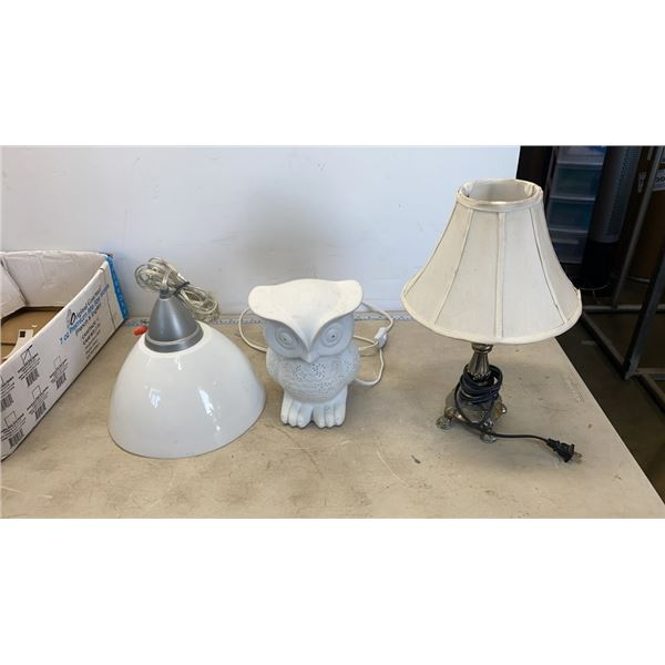 METAL TABLE LAMP, HANGING LIGHT AND OWL LIGHT